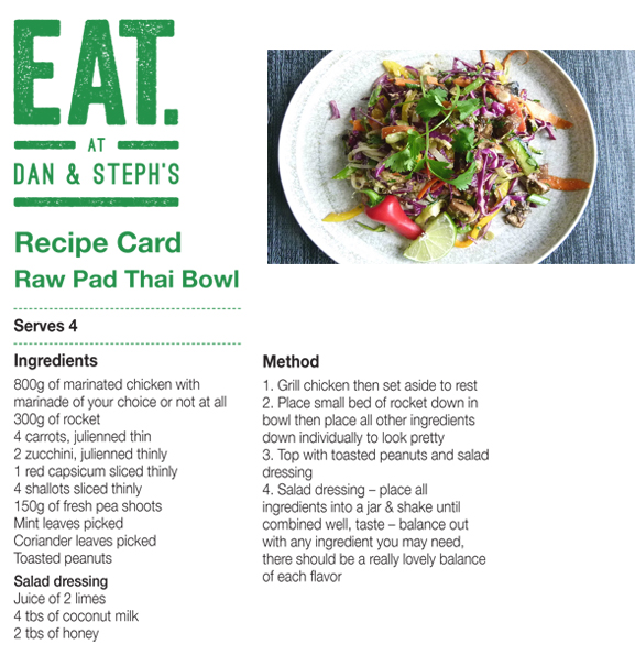 Recipe Card Raw Pad Thai week one