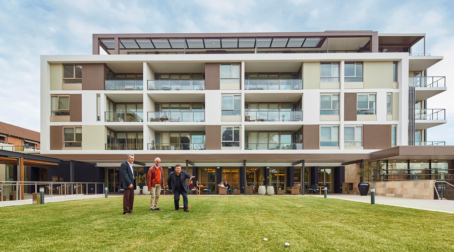 Residents enjoy a game of bocce Stockland's Cardinal Freeman The Residences retirement village in Ashfield (NSW)