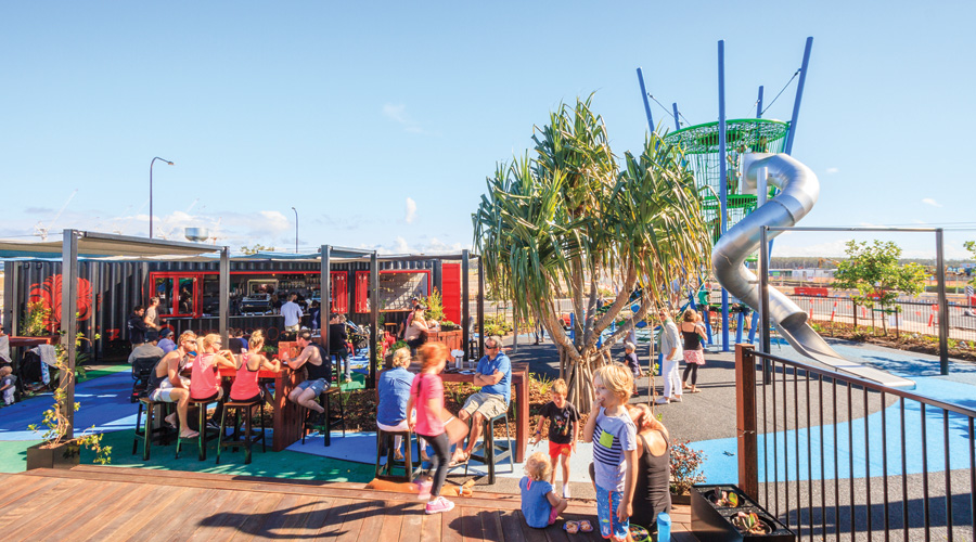 A busy play area at Stockland's Oceanside community at Kawana on Queensland's Sunshine Coast.