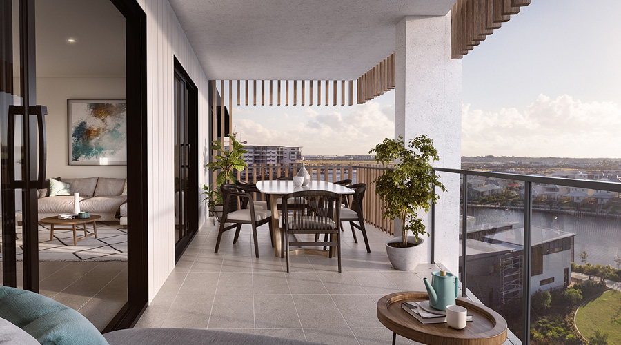 An artist's impression of the view from the balcony at Stockland's vertical Birtinya Retirement Village.