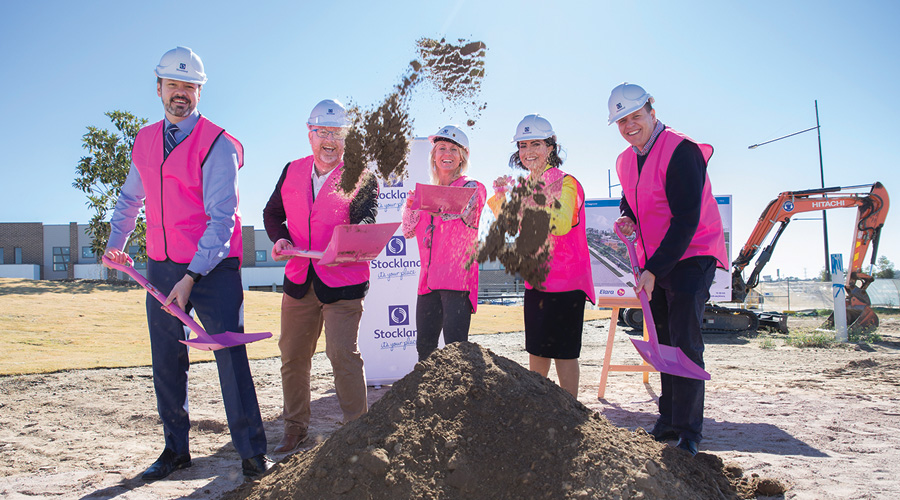 Dignitaries turn the first sod at the $3.2 million water-themed inclusive playground Livvi's Place at Stockland's Elara masterplanned community in Marsden Park (NSW).