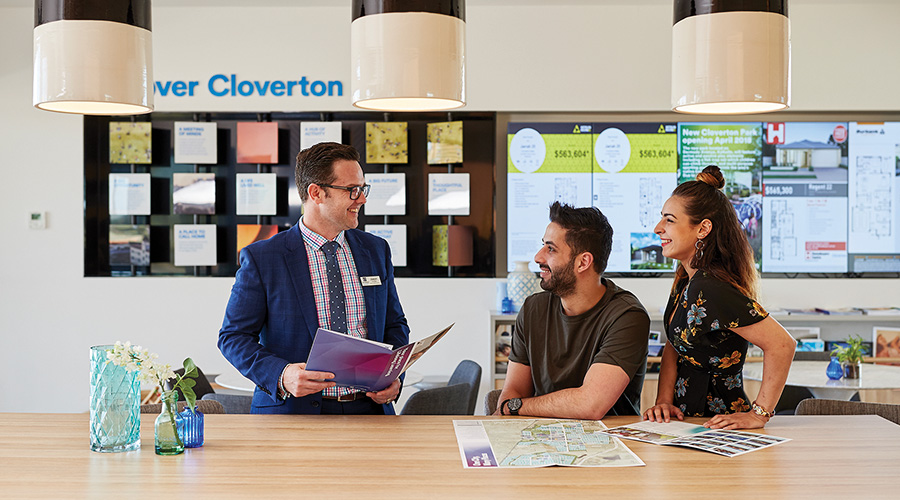 Customers at the Cloverton Sales and Information Centre in Kalkallo, Victoria