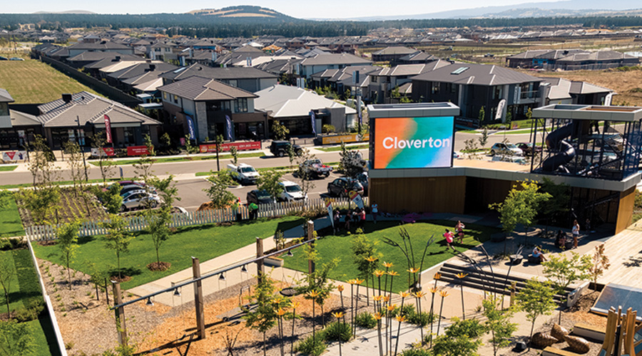 Residents enjoy the park at Stockland's Cloverton masterplanned community in Kalkallo, Victoria.