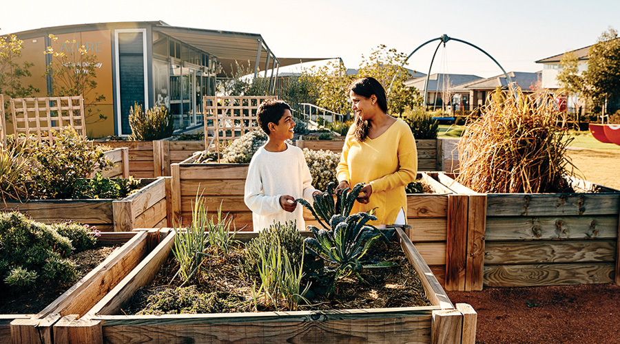 Residents check on the community garden at Stockland's Elara residential community in Marsden Park, NSW.