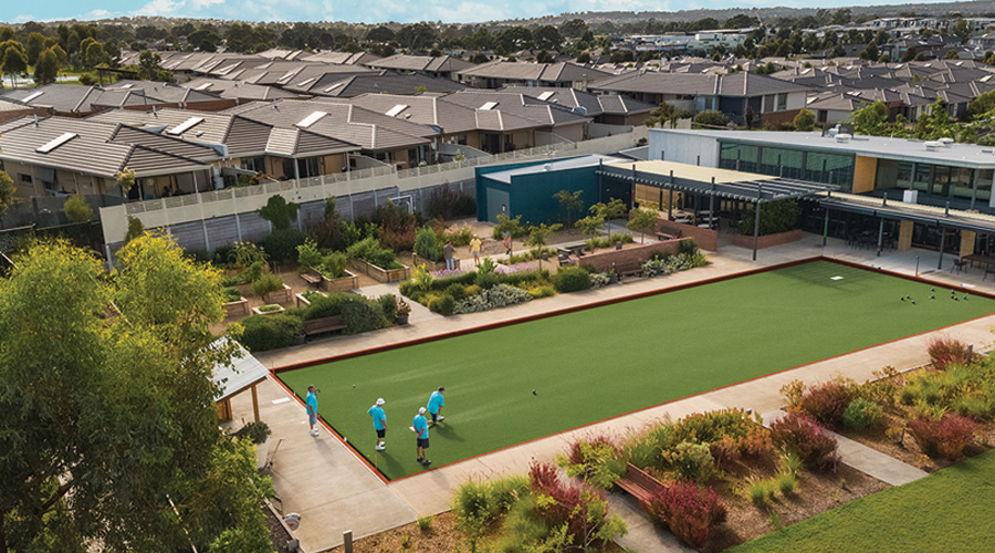 Residents enjoy bowls and the community garden at Stockland's Mernda Retirement Village in Mernda, Victoria.