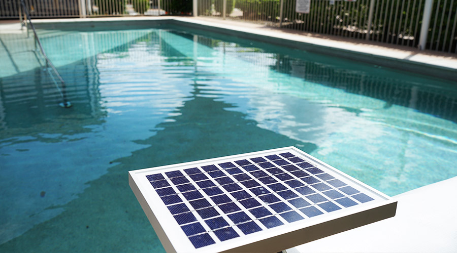 Pool cover roller solar panel