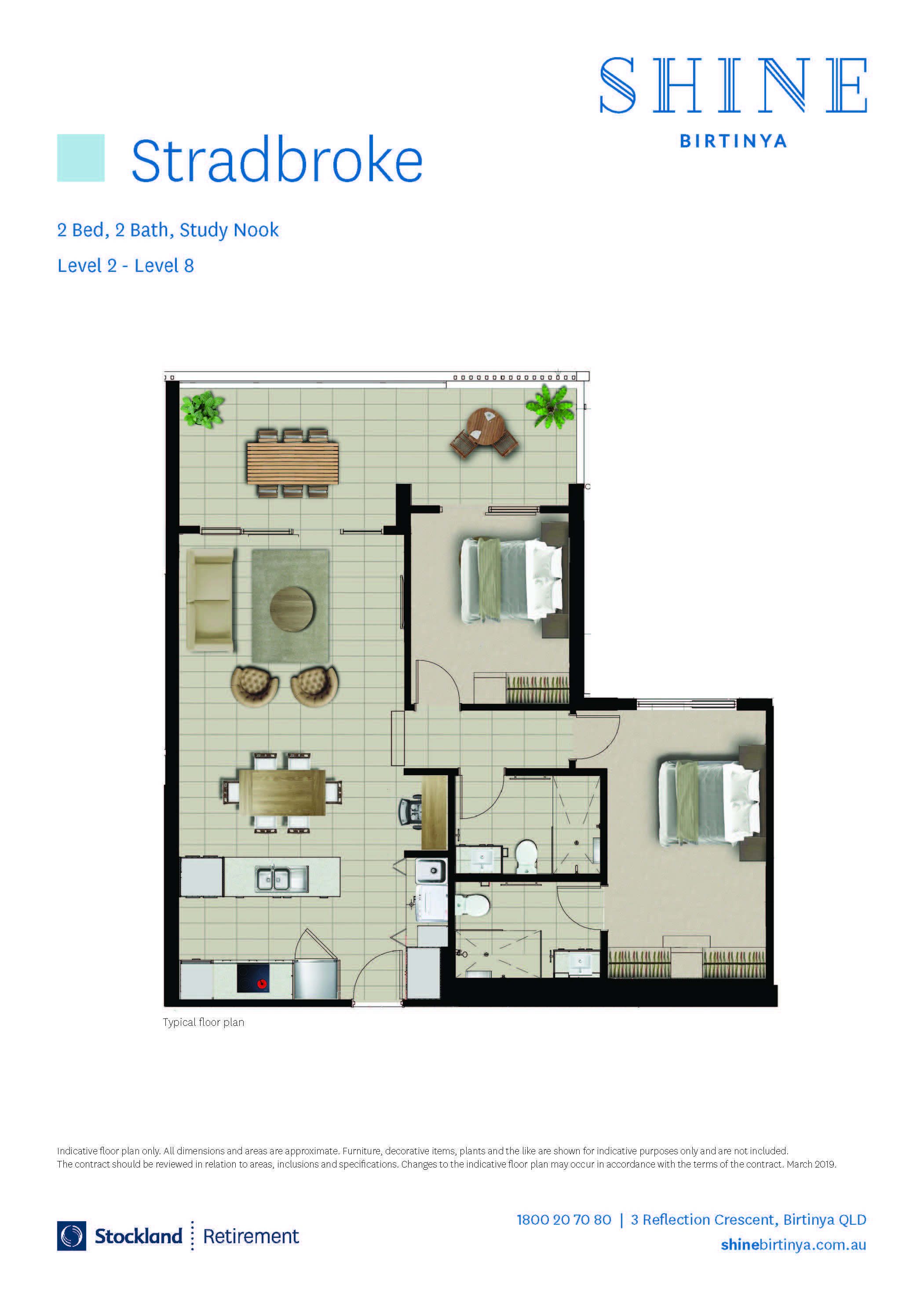 Floorplan of the Stradbroke Design with 2 Bed 2 Bath