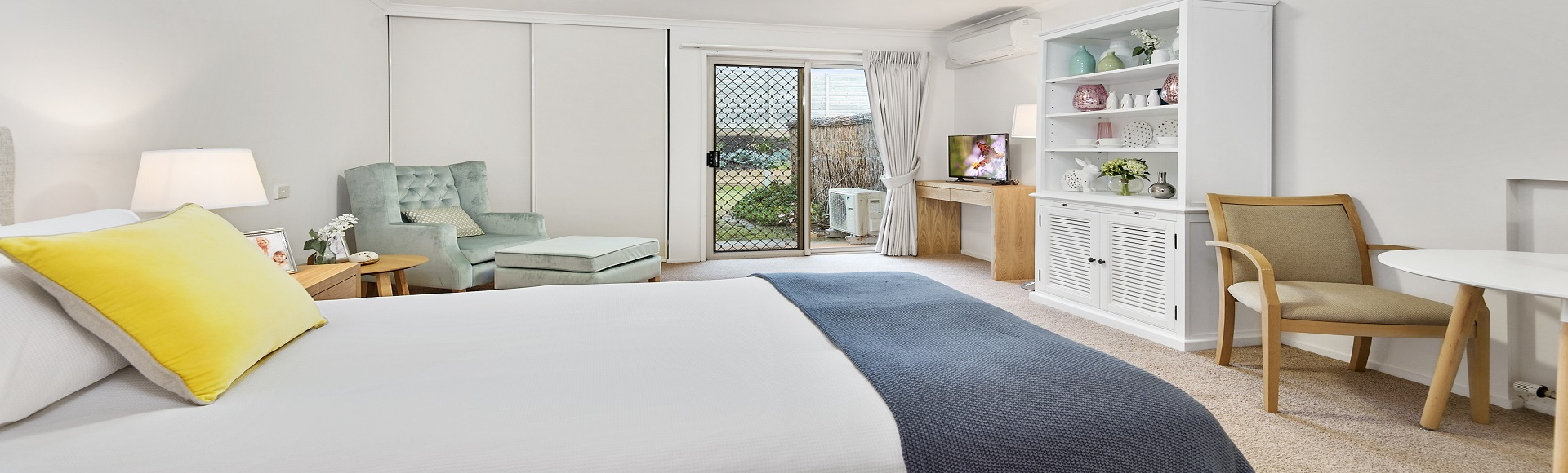 Open plan living in a serviced apartment at The Lakes Estate retirement village