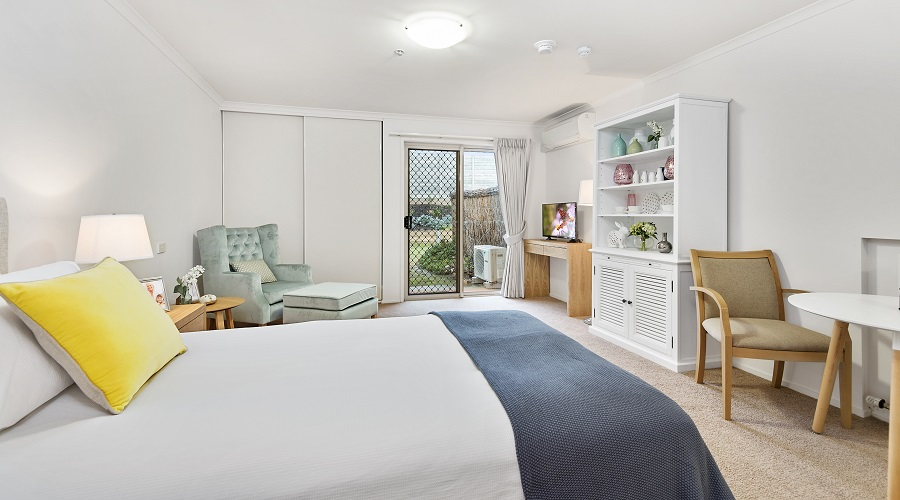A studio serviced apartment at The Lakes Estate Retirement Village