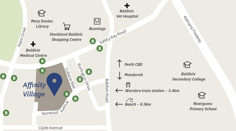 What's around Affinity Village - shopping, schools, library, medical centre, beaches and parks