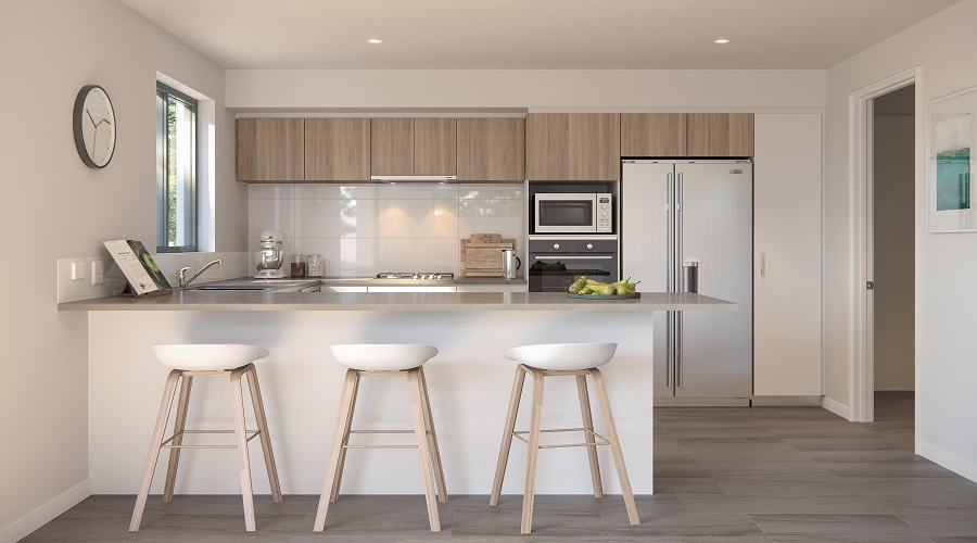 Aspire by Stockland at Calleya villa kitchen in dark colour scheme