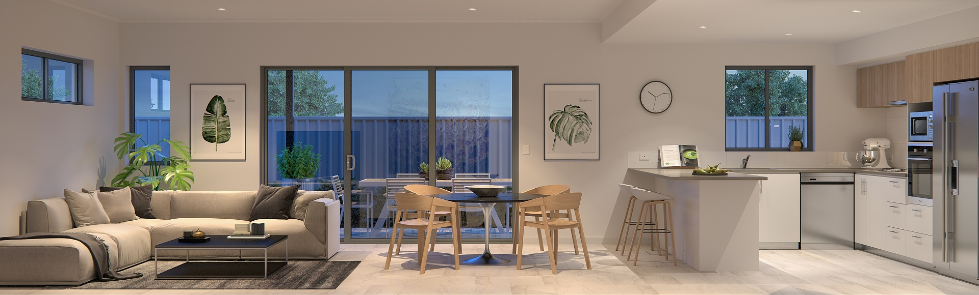 Open plan living, dining and kitchen with alfresco area at Aspire by Stockland at Calleya