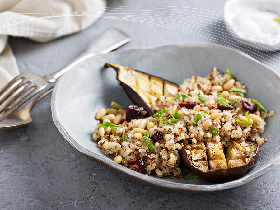 E is for Eggplant Roasted with Quinoa Salad and Pine Nuts  Vegan Dish  Stockland A to Z of Mmmm