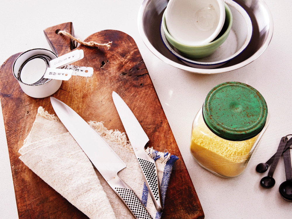 Chopping Board and Knives on Kitchen Bench