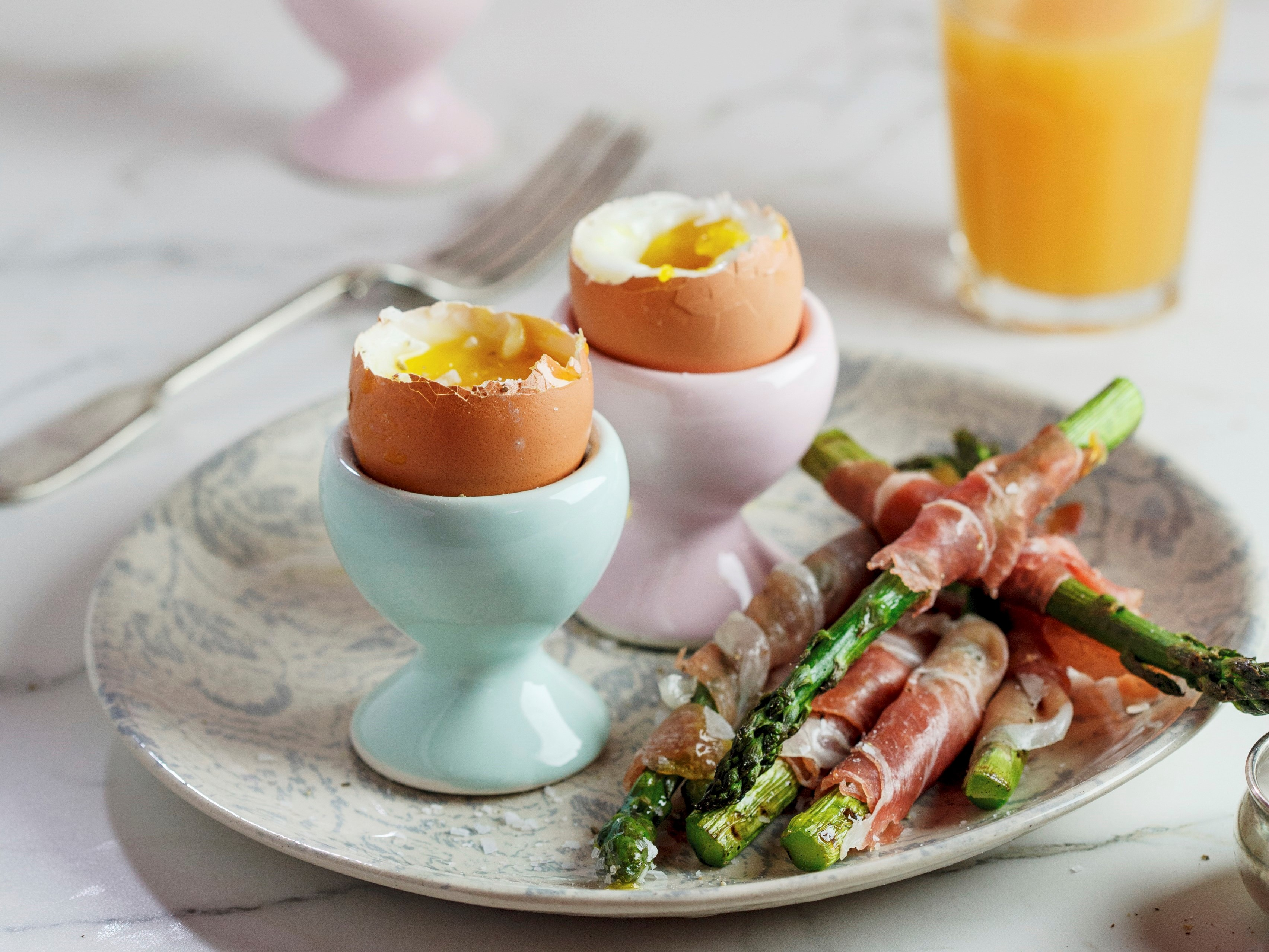 Soft-boiled eggs with Parma...