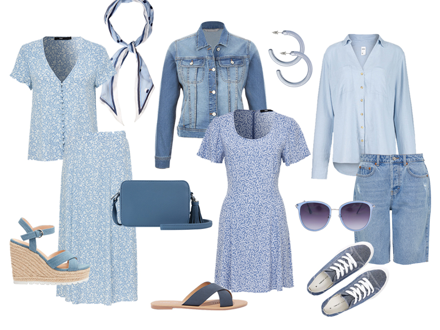 Blue colour fashion items and accessories.