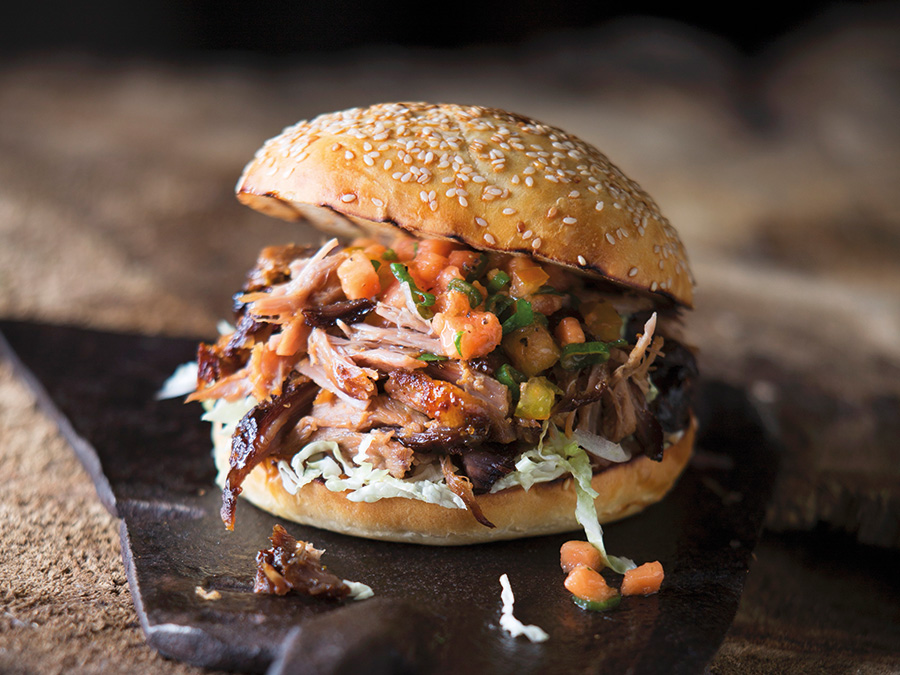 Pulled pork with papaya slaw