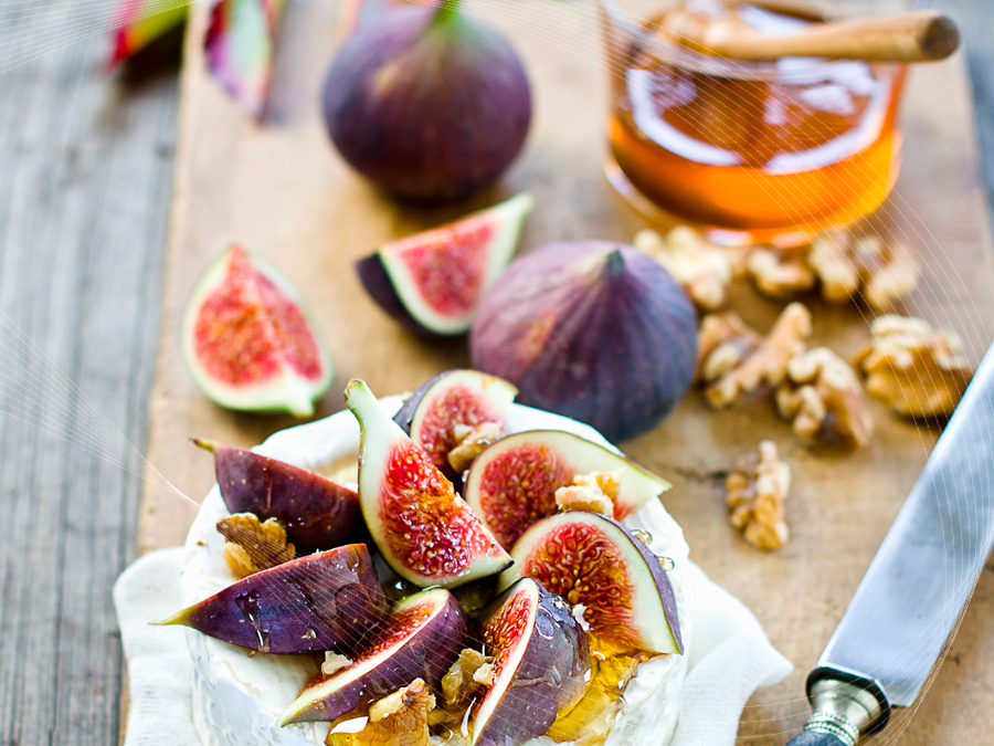 Camembert with Honey Figs and Walnuts