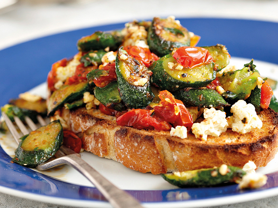 Bruschetta with feta cheese tomato and baby marrow