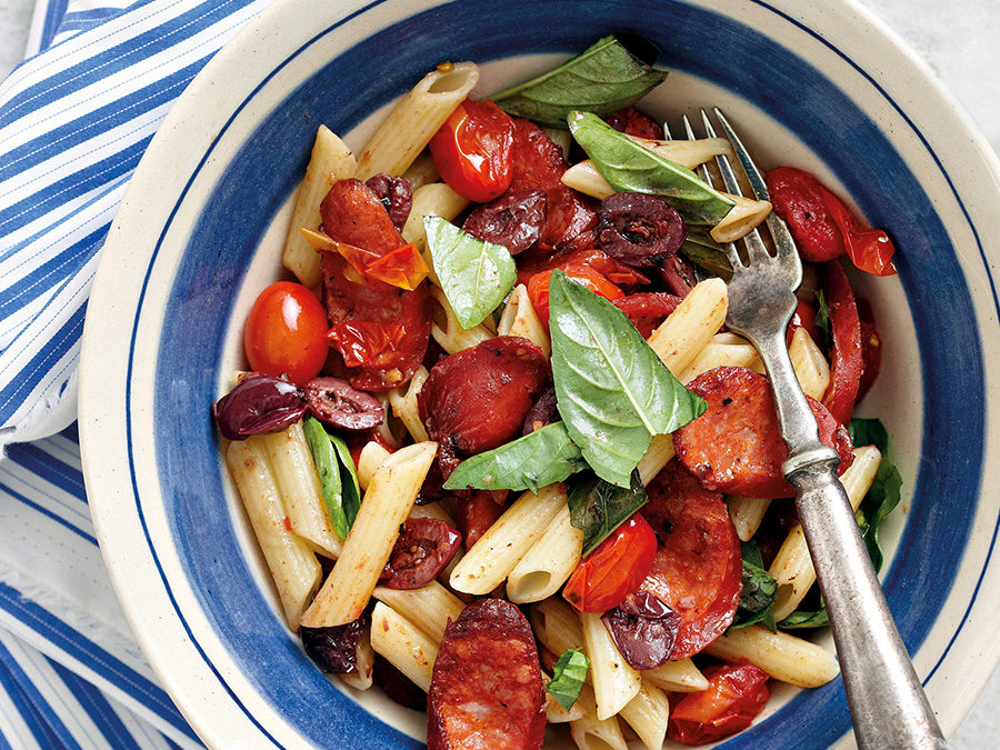Penne with Chorizo and tomato