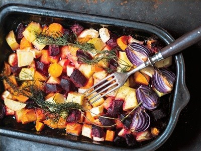 Colourful winter roasted vegetables