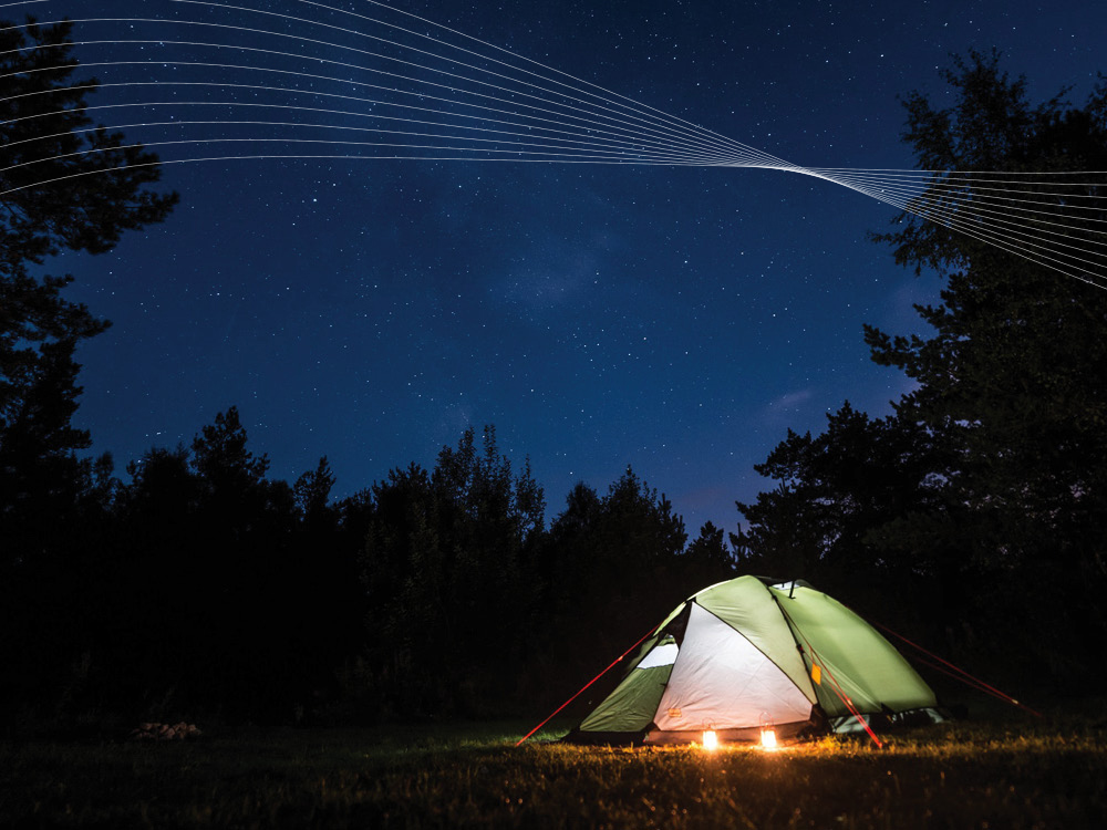 Tent in the wilderness under the stars