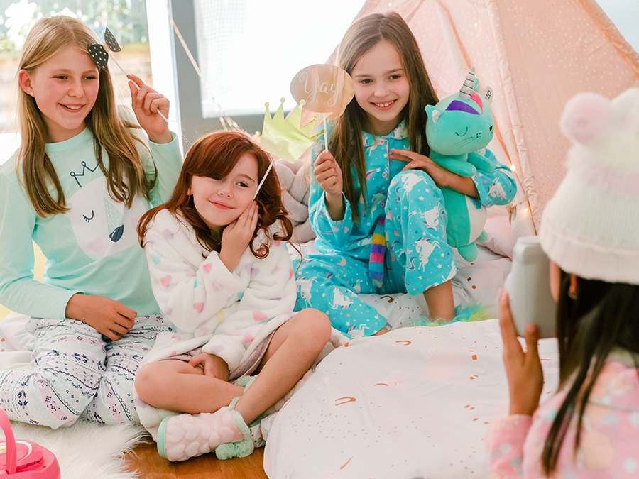 Girls enjoying a slumber party