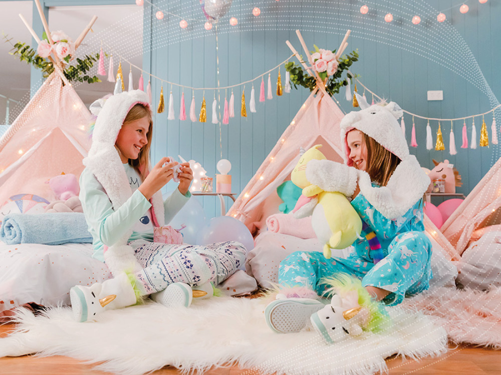 Young girls enjoying a slumber party