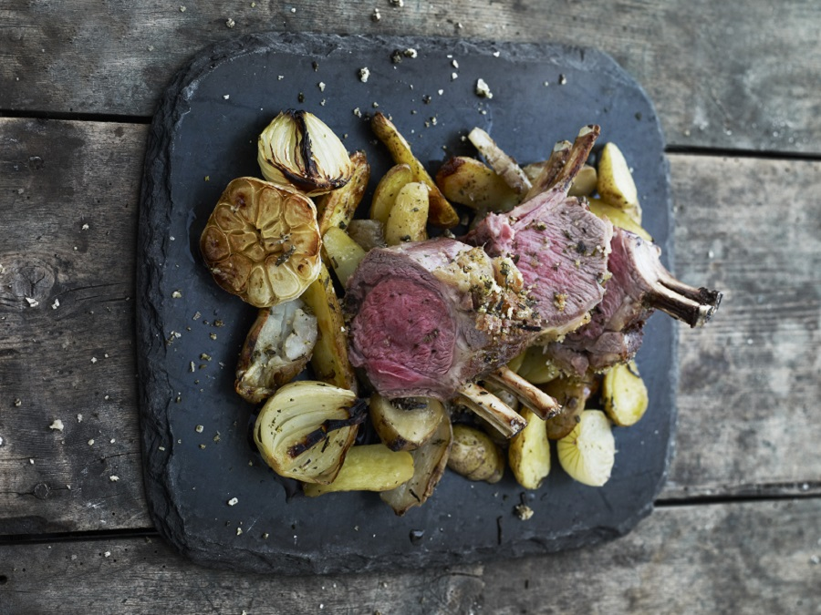 Lamb chops with roasted onions and...