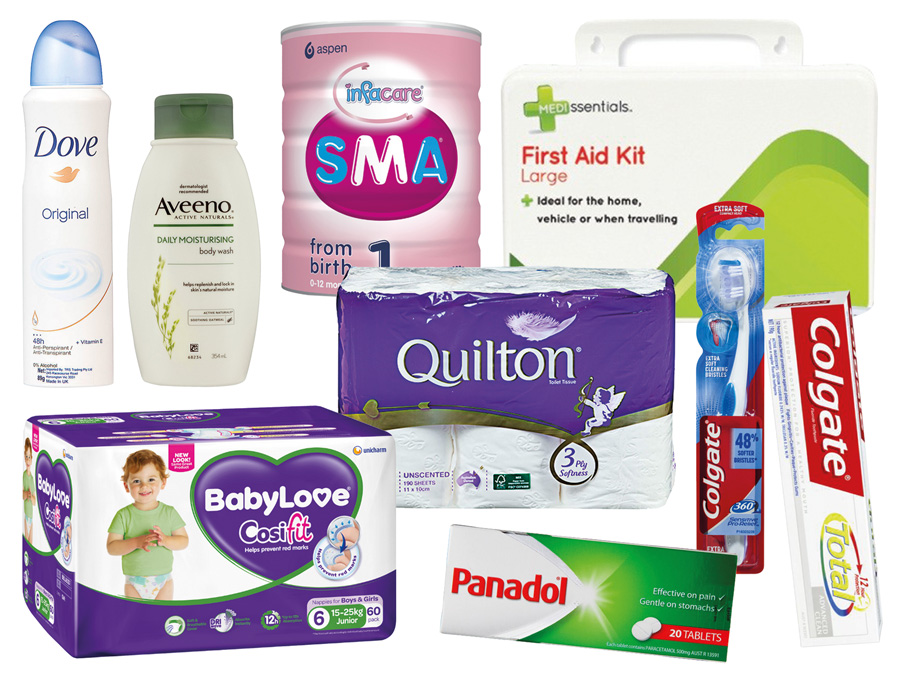 Mixed Toiletries - toothpaste, panadol, toothbrush, toilet paper, deoderant, nappies, baby formula