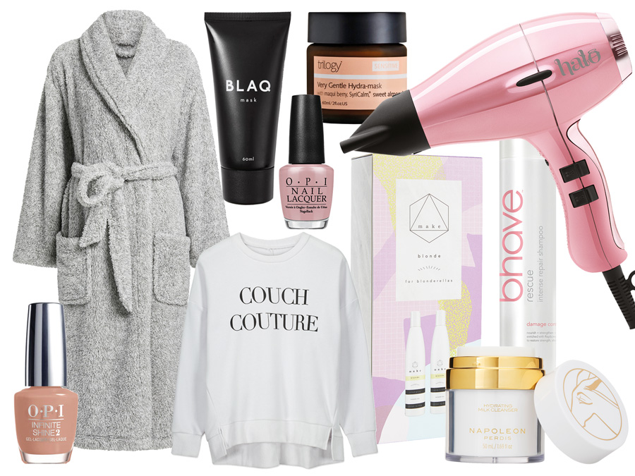 Spa Essentials - Robe, Sweater, Hairdryer, beauty products