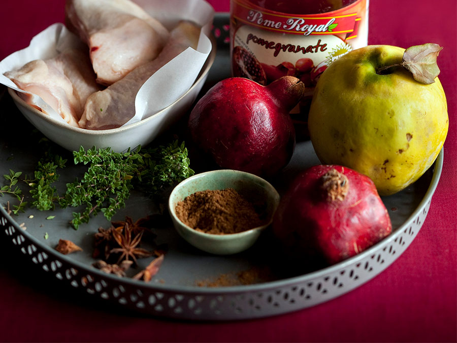 chicken with quinces and pomegranate juice